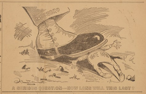 A racist political cartoon by Norman Jennett showing a boot worn by a Black man smashing a white man underneath.