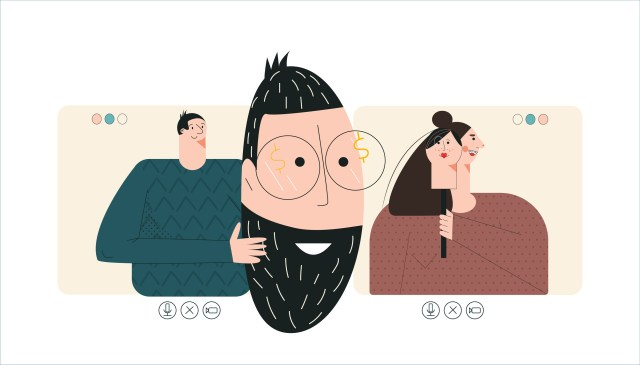 Illustration depicting people misrepresenting themselves on a dating app.