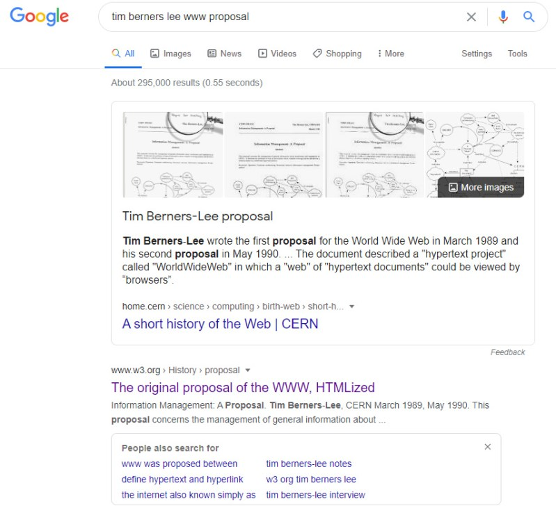 Results page for the Google Search 'tim berners lee www proposal'.