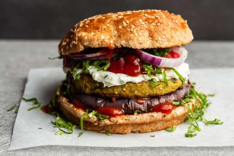 Veggie burger on a table