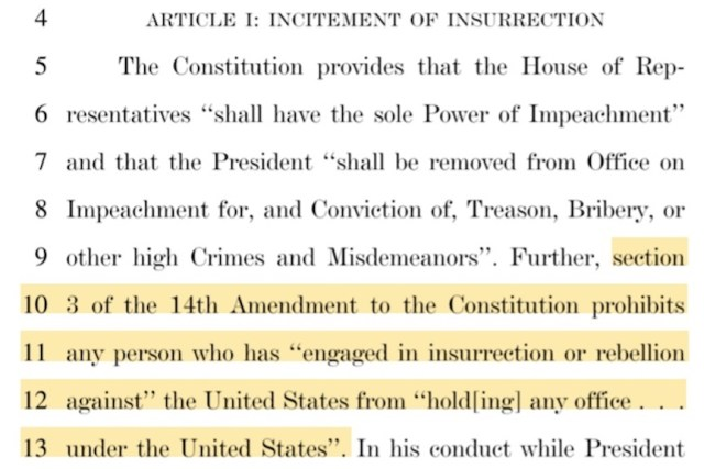Snap shot of the text of the articles of impeachment