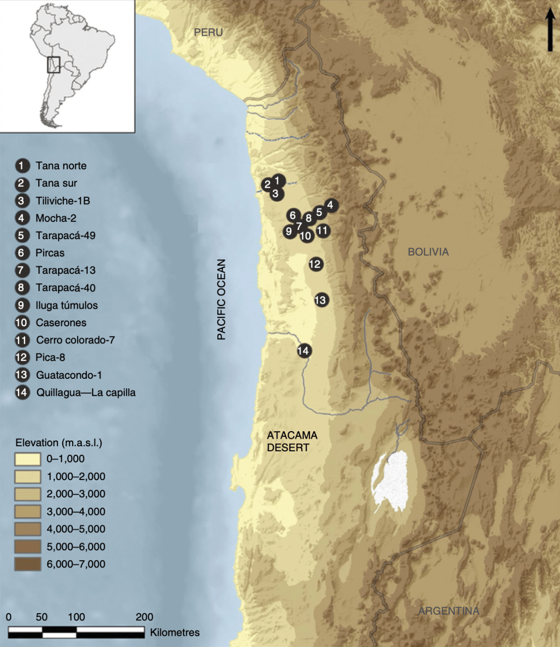 Map of northern Chile.