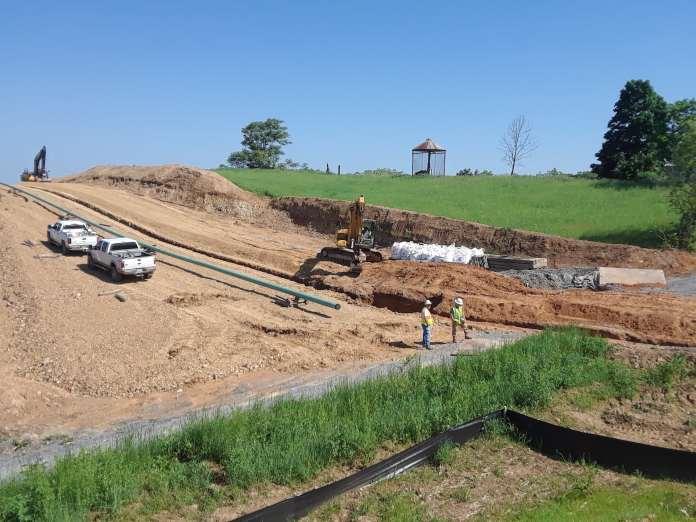 Pipeline construction on a farm