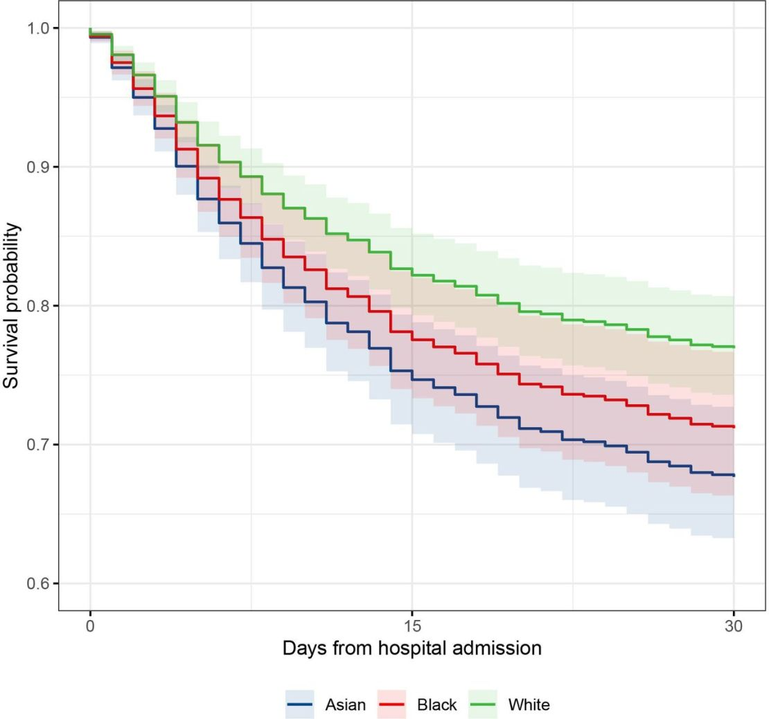 Graph showing survival rates of Black, Asian and white COVID-19 patients.