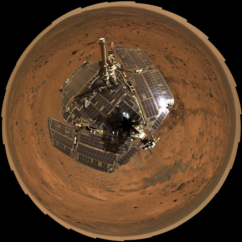 Looking down on Spirit rover.
