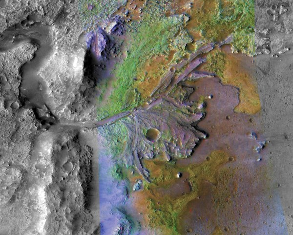 A topographic, top down photo with colors showing the ancient river delta in the Jezero Crater