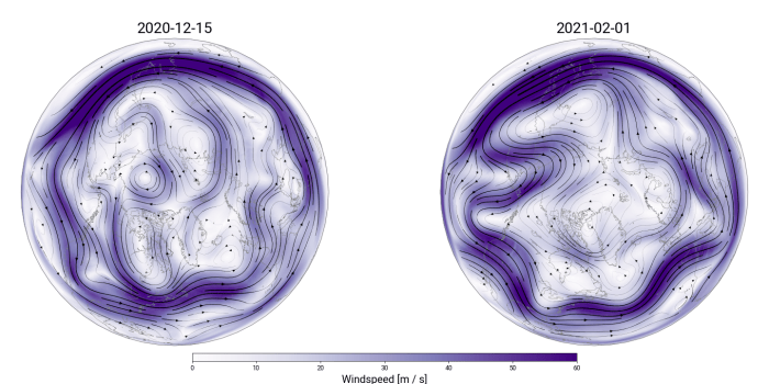 Side by side images showing a relatively circular jet stream and a very wavy jet stream.