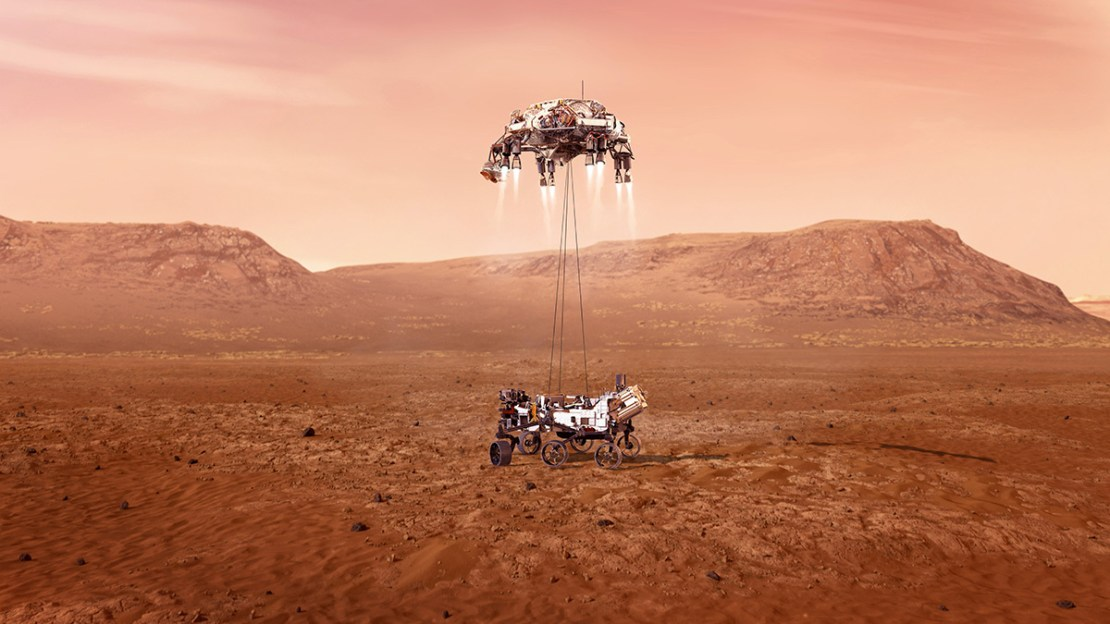 Artist's image of the Perseverance rover landing.