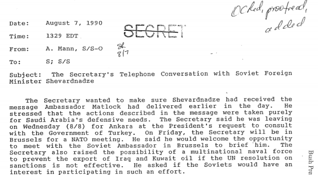 Typed record of phone conversation between Secretary of State James Baker and Soviet Foreign Minister Eduard Shevardnadze, 7 August 1990, with 'secret' written and crossed out at the top