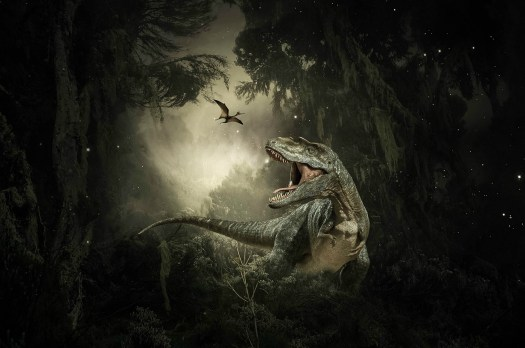 A drawing of a T-rex looking at a small flying dinosaur in a forest.