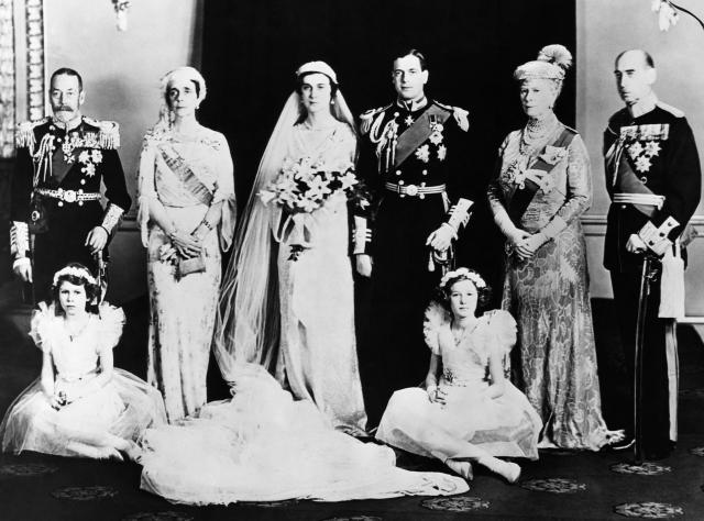 British Royal Family. Seated, from left: Future Queen of England Princess Elizabeth, Lady Mary Cambridge. Standing, from left: King George V of England, Grand Duchess Elena of Russia, Princess Marina, Duchess of Kent, Prince George, Duke of Kent, Queen Ma