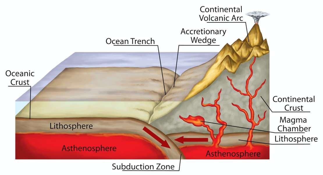 Diagram of subduction.