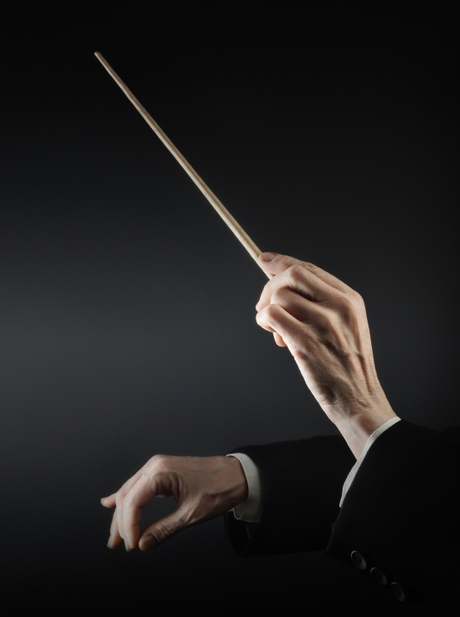 Female conductor waves wand