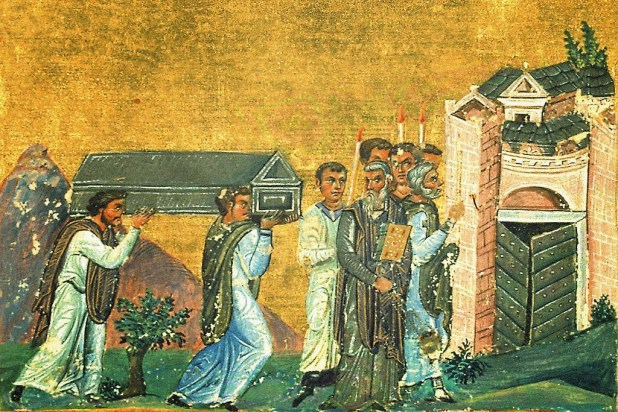 A coffin is carried into a city in a painting