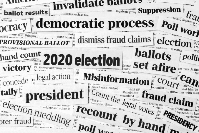 Headlines about fraud claims in the 2020 election