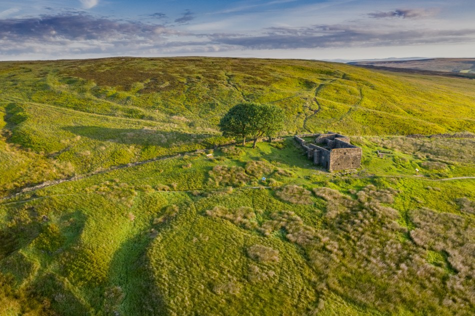 Aeiral shot of the ruins of the Top Withins farmhouse