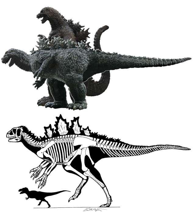 A comparison between an upright Godzilla and a horizontal Godzilla.