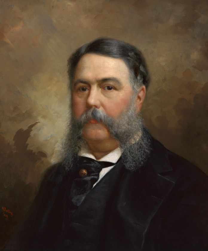 A portrait of President Chester A. Arthur, with long gray whiskers.