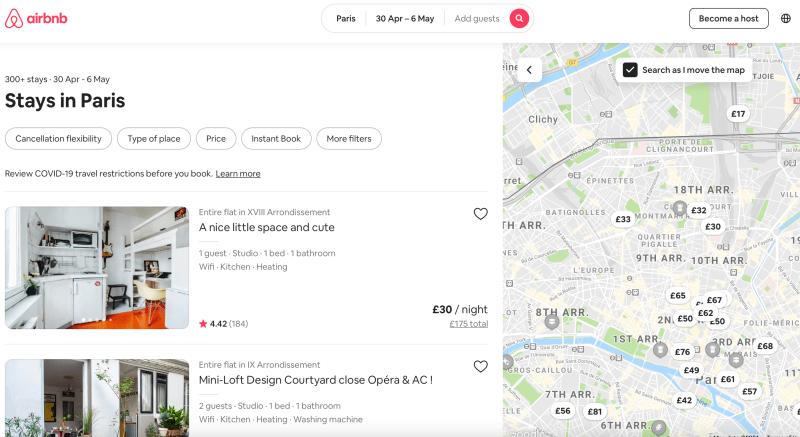 Airbnb page for Paris