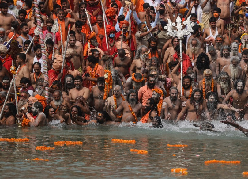 Taking a dip in the Ganges during Kumbh Mela