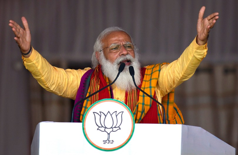 A maskless Modi addressing his party's supporters