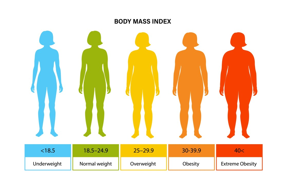 A chart showing body mass index.