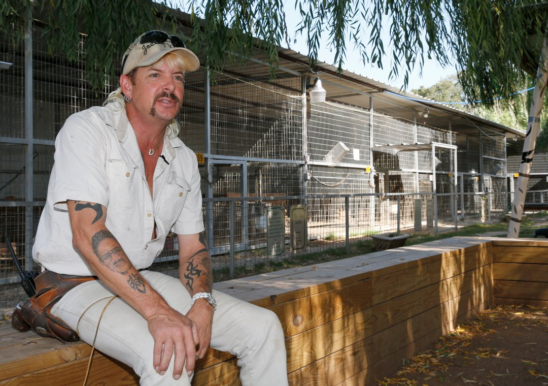 Joe Exotic sits in front of an exotic animal enclosure.