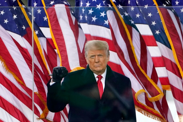 former President Donald Trump raises his right arm as his hand forms a fist during a speech, with a row of US flags behind him