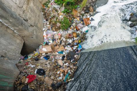 rubbish in waterway