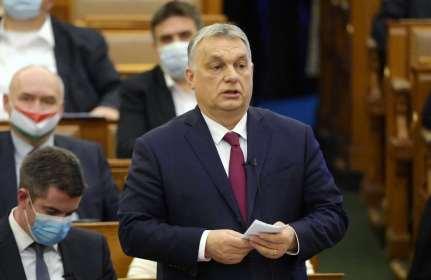 Le premier ministre hongrois Viktor Orban lors d'un discours au Parlement le 15 février 2021.