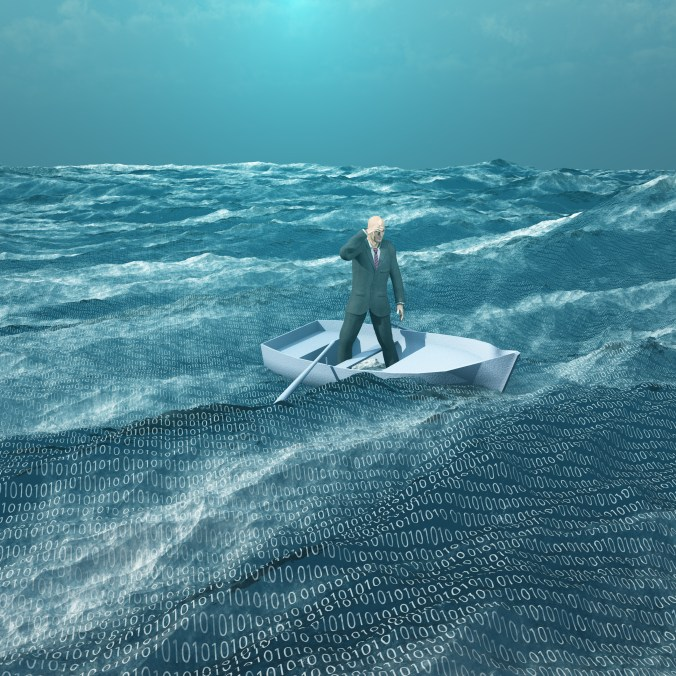 A man in a suit standing in a rowboat on a sea filled with binary symbols.