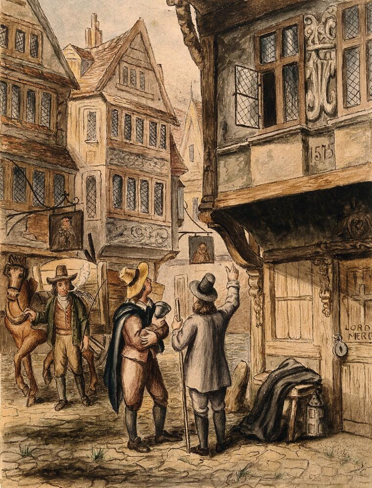 Painting of two men standing outside a tavern while a plague cart goes by.