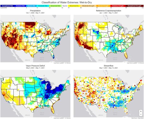 Four US maps showing drought levels of precipitation, vapor pressure deficit, evapotranspiration and streamflow fire season drought