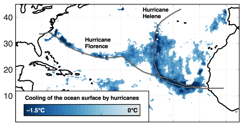 Chart showing the wakes of Hurricanes Florence and Helene in 2020