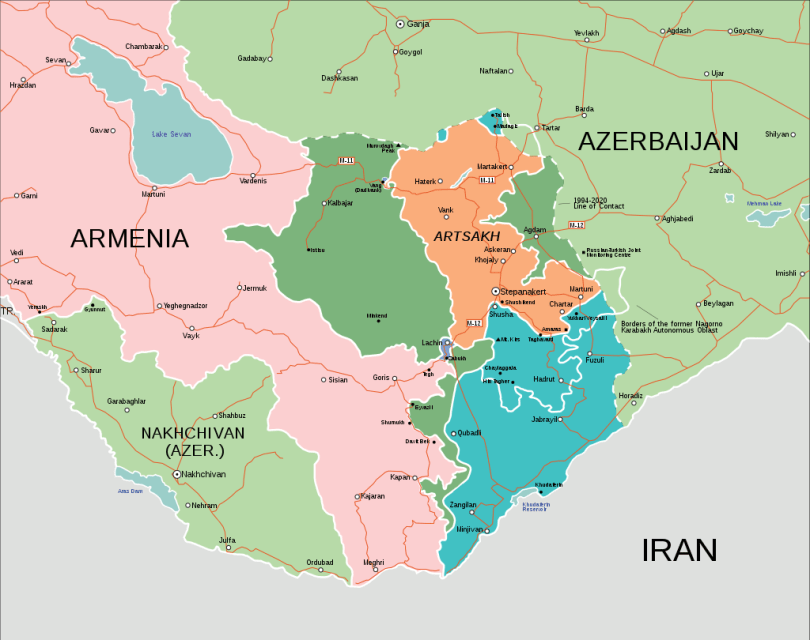 Map of the Caucasus region showing de facto borders after the ceasefire, explained above.