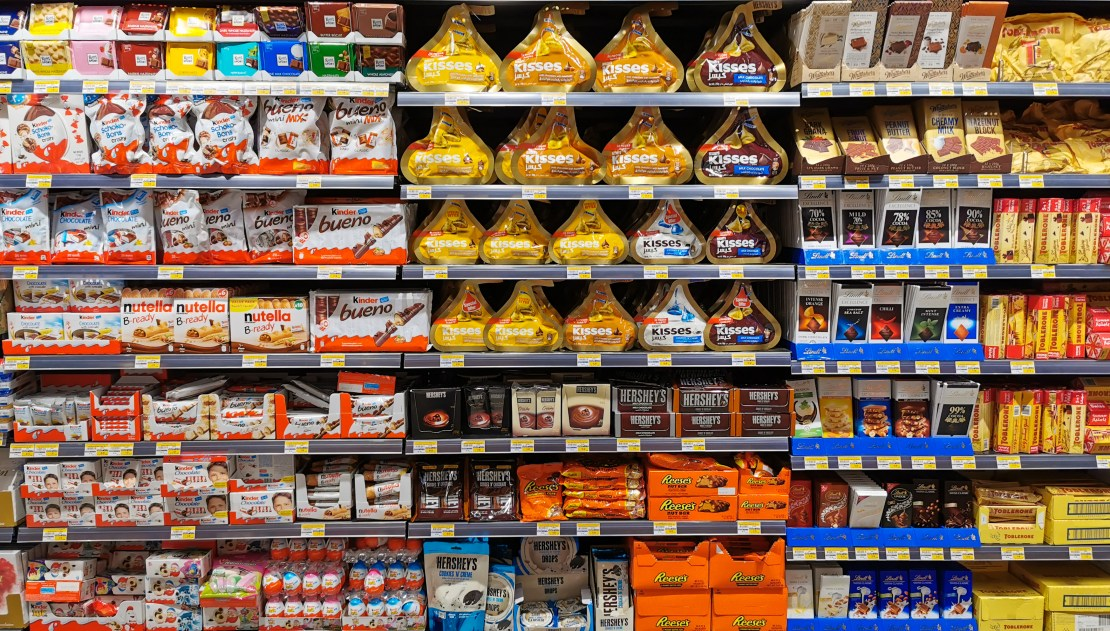 Image of a chocolate aisle in the supermarket.
