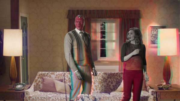The android superhero Vision and Wanda Maximoff in the Marvel TV series 'WandaVision'