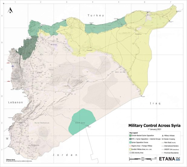 Map of Syria showing areas of control