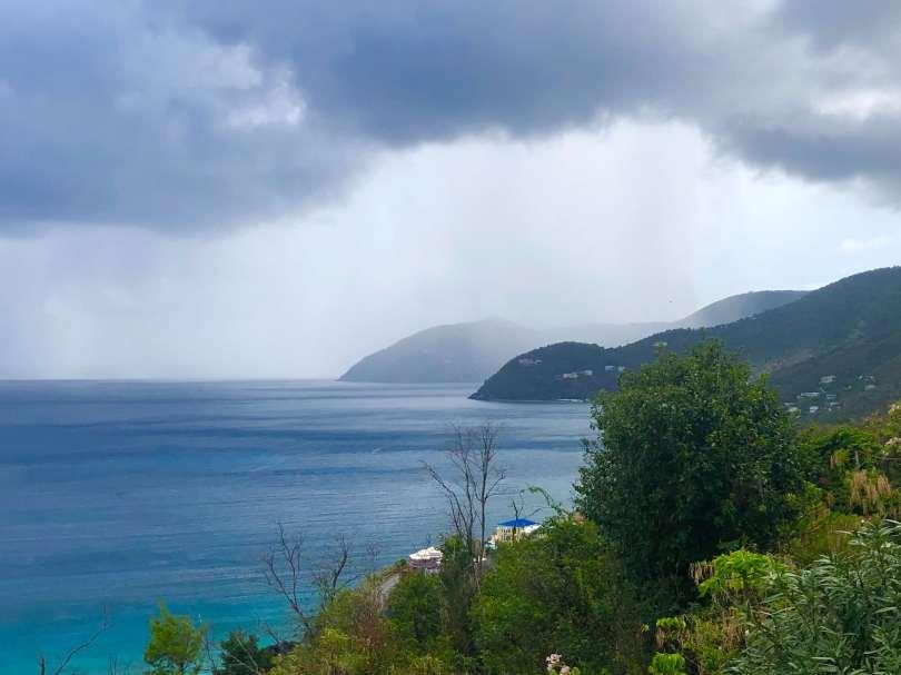 View of coastline and sea on British Virgin Islands