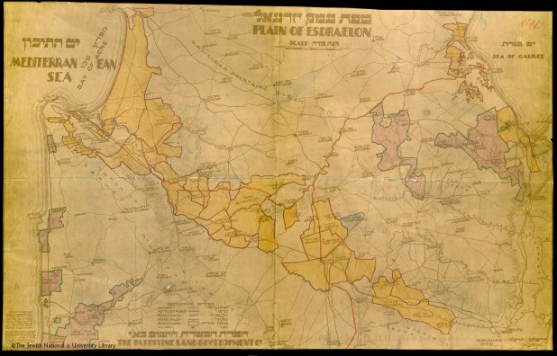 A map shows the areas of Jewish land holdings in Palestine in 1925