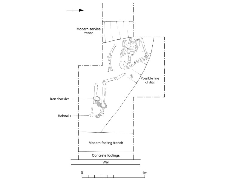 Black and white diagram of a skeleton buried underground in Great Casterton