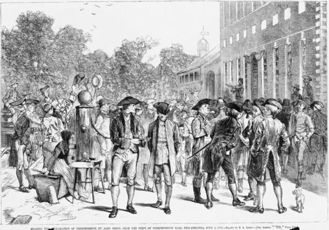 A woodcut of people in colonial dress gathered in the street