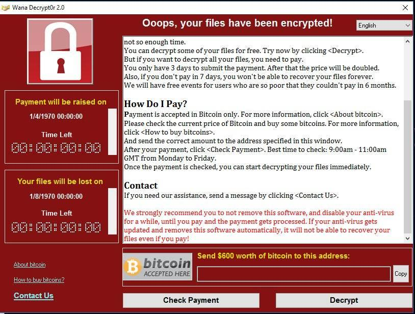 A ransomware lockout screen