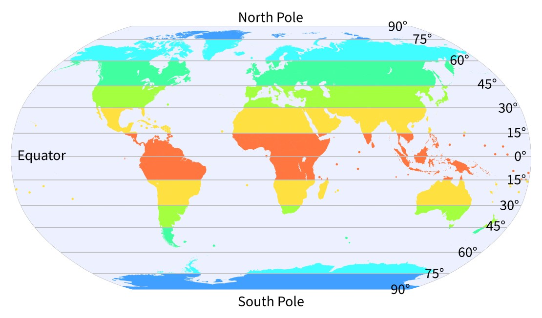 Map of earth showing latitudes