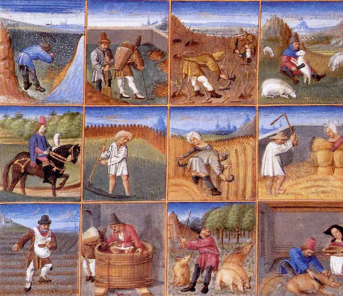 Medieval calendar showing monthly agricultural tasks.