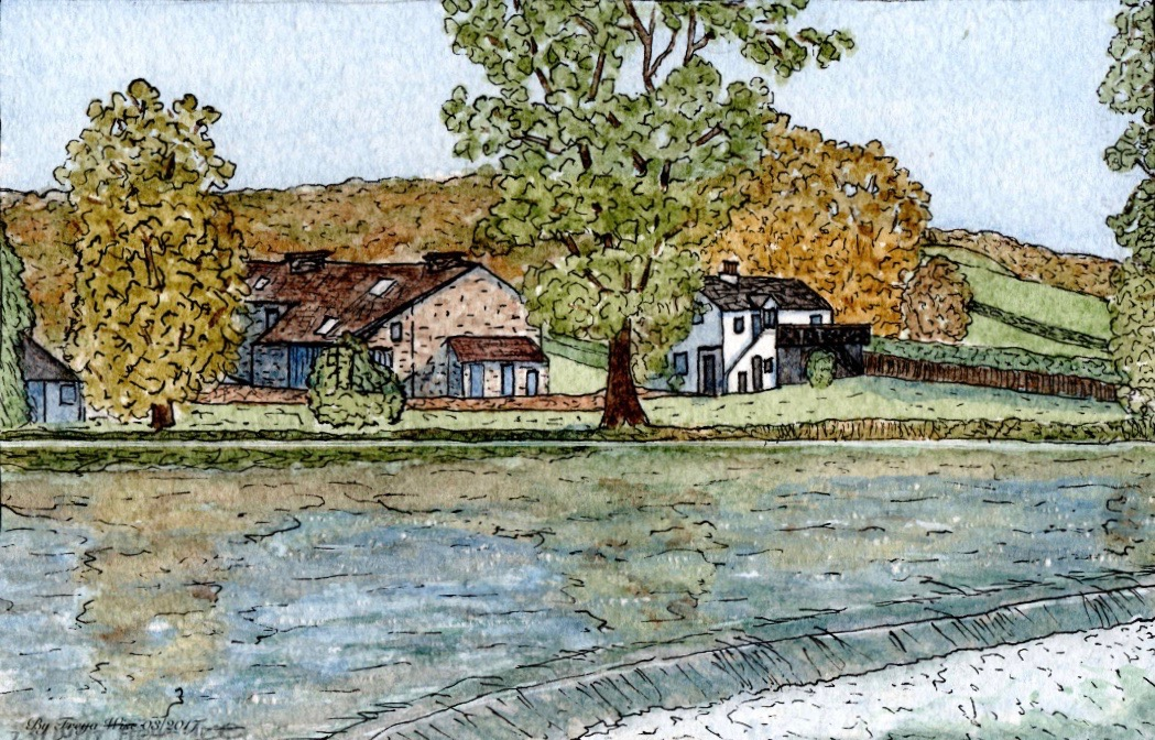 A watercolour painting of two older rural homes.