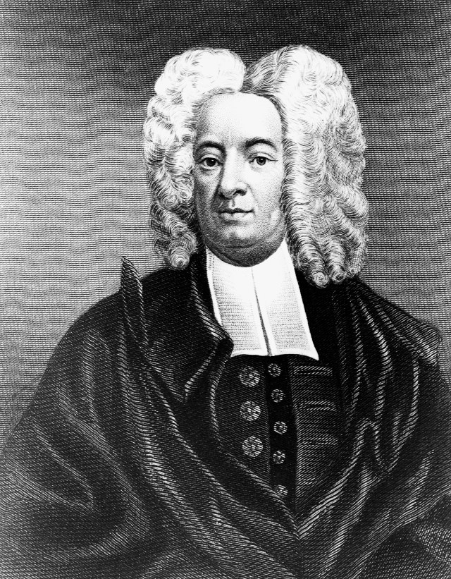 etching of an 18th century man in white wig