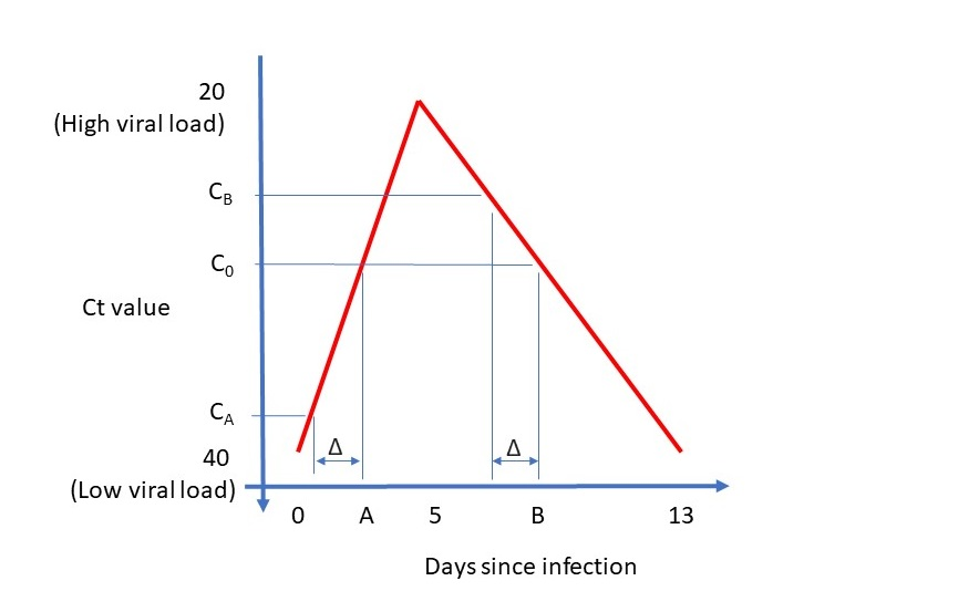 Graph demonstrating the amount of virus in the body rising and falling during a COVID-19 infection