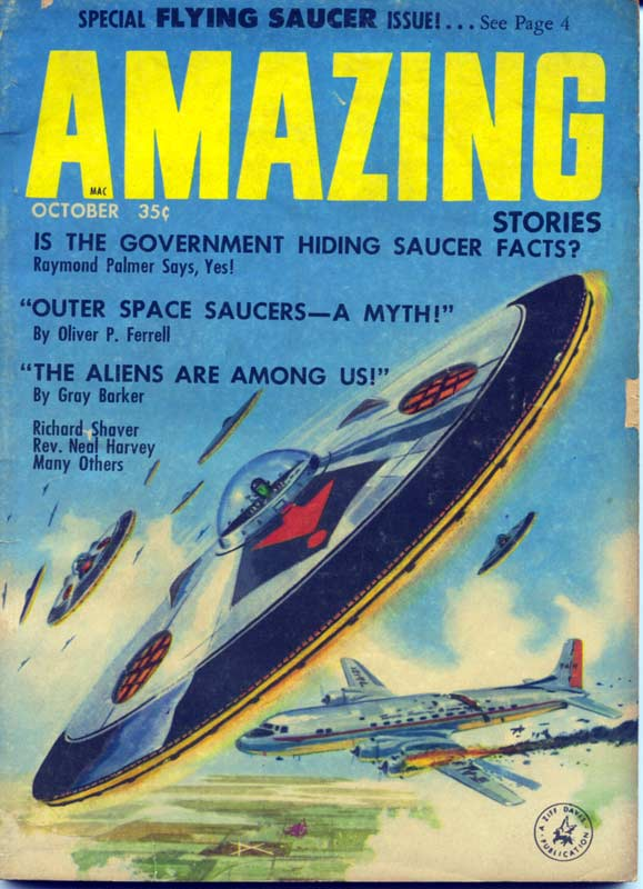 An old magazine cover showing a hand–drawn flying saucer.