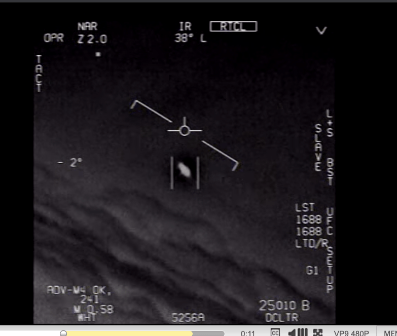 A Navy aircraft video of a UFO.